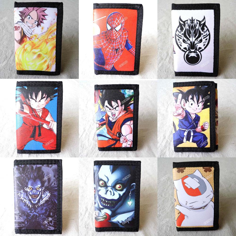 Anime Dragon Ball/Fairy Tail/Death Note/Final Fantasy/Spider Man/Natsume Yuujinchou/Naruto Short Polyester Wallet/Purse(China (Mainland))