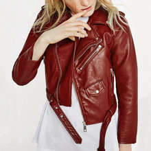 2016 New Fashion Women Wine Red Faux Leather Jackets Lady Bomber Motorcycle Cool Outerwear Coat with Belt Hot Sale(China (Mainland))