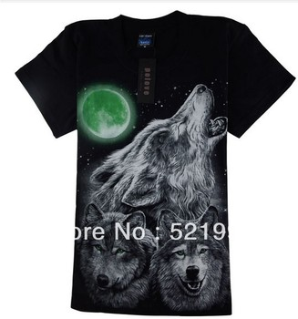 Fast delivery the top 2013 new summer men's 3 d printing three Wolf relaxed leisure sports T shirt with short sleeves large size