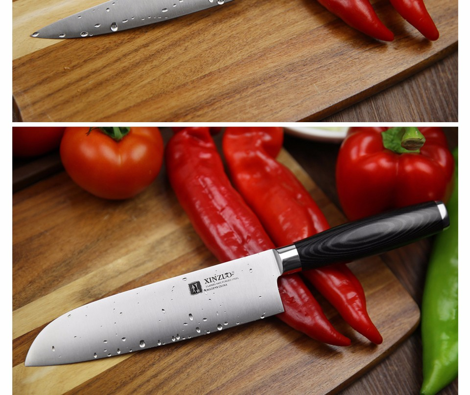 Buy XINZUO 3 pcs kitchen knife set utility Chef knife 3 layers 440C clad steel Kitchen Knife super sharp santoku knife free shipping cheap
