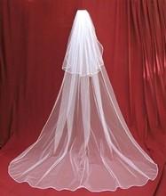 2015 trasporto libero velo in sposa veli charming avorio/bianco 2 tier cattedrale velo da sposa con pettine pizzo purfles personalizzato 3 metri(China (Mainland))