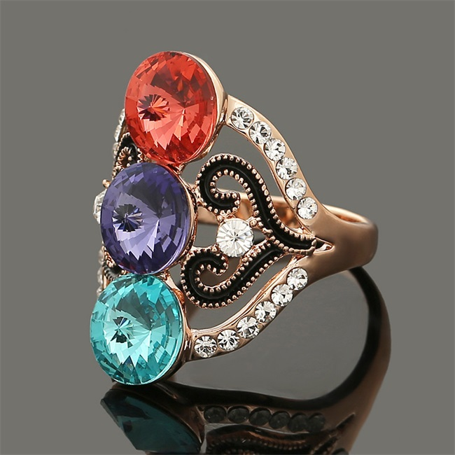 2015 Hot Sale Fashion Exaggerate Multi Clor Crystal Ring Bling Rhinestone Elements Follwer Ring for Women Fast Shipping SR68(China (Mainland))