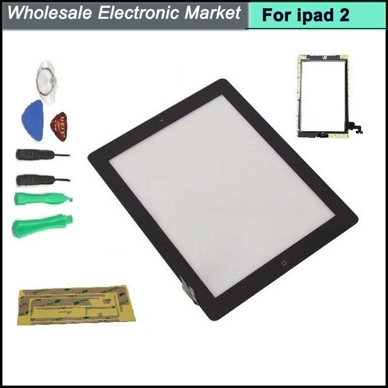 Free Shipping Touch Screen Digitizer with Home button and 3M Adhesive Tape Sticker assembly for iPad 2 Black with 7 pcs tools(China (Mainland))