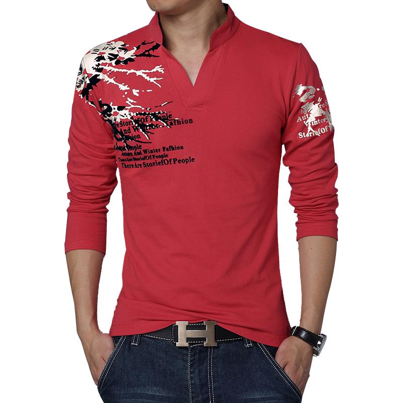 Stand Collar Shirts Designs : New brand t shirt men fashion print stand collar long