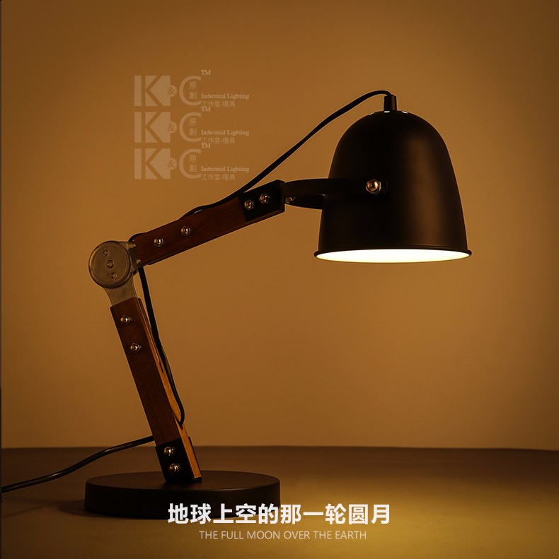Brief Style Desk Lamp Adjustable Head Wood &amp; Iron Black Table Lamp E27 AC90~260V Home Decoration For Study Room,Bedroom<br><br>Aliexpress