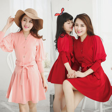 2015 autumn women vintage dress girls party dress knitted matching mother daughter dresses clothes family look clothing
