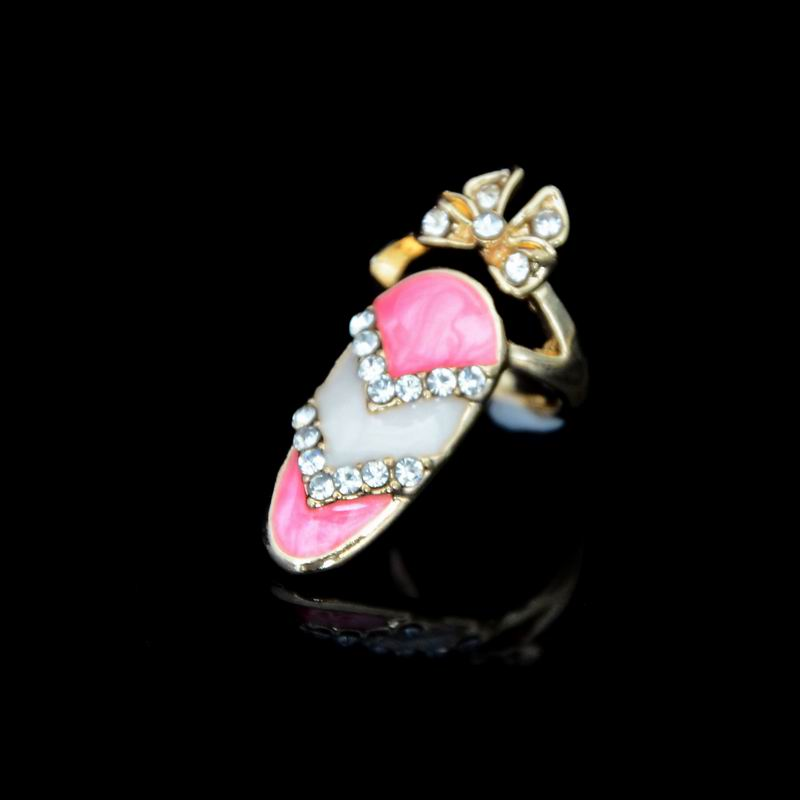 2016 Newest Design Fashion Enamel Austrian Crystal Bowknot Nail Rings For Chic Girls Women WR025(China (Mainland))