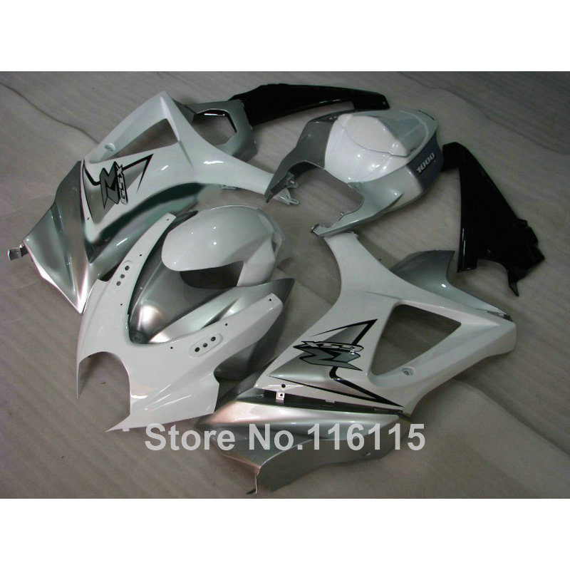 ABS Motorcycle parts for SUZUKI GSXR 1000 K7 K8 07 08 fairing kit GSXR1000 2007 2008 white silver black fairings set JS87(China (Mainland))