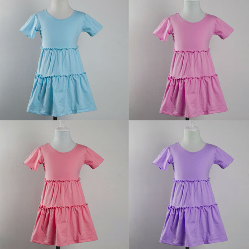 2015 new arrival summer boutique princess baby toddler girls knit cotton dresses wholesale children clothing kids frock designs(China (Mainland))