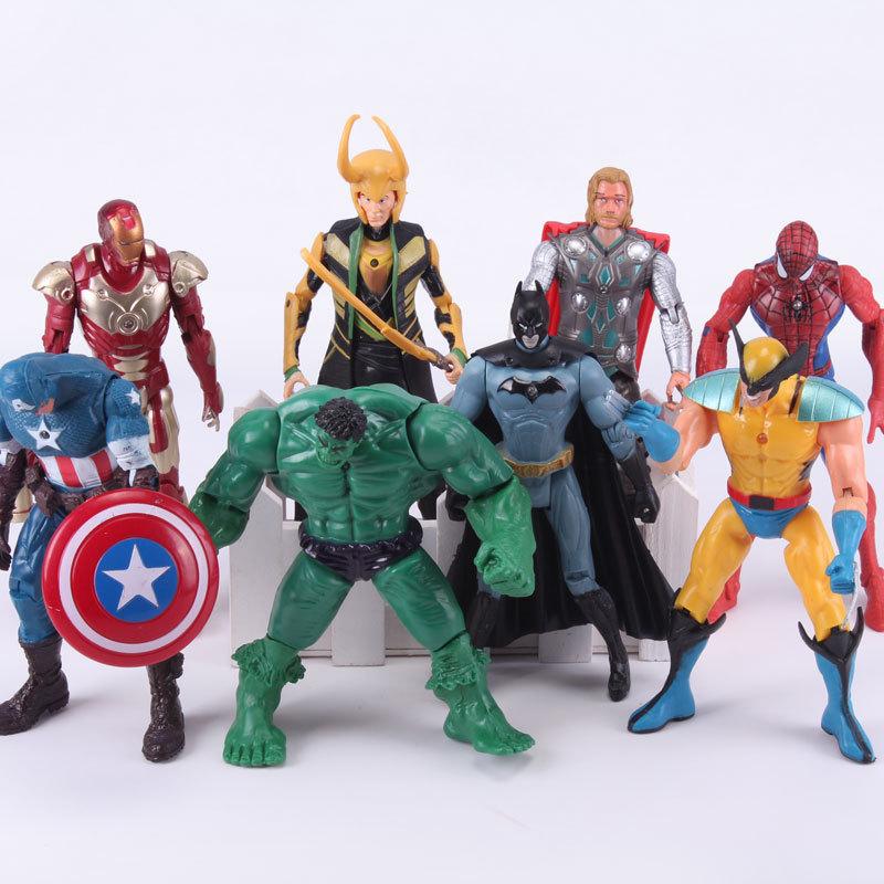 Superheroes Avengers 8pcs set Spiderman Hulk Captain America Loki Iron Man Batman PVC Action font b