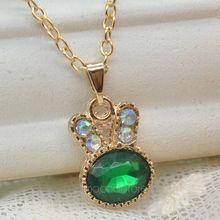 Delicate Jasper Dark Green Crystal Rhinestone Necklace 18 K Gold Plated Rabbit Pendant Necklace, Women Jewelry(China (Mainland))