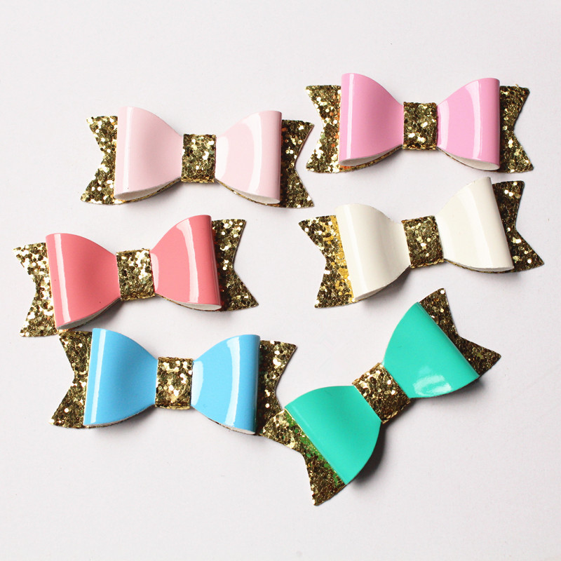 PU Bow Hair Aritificial Leather Glitter Felt Shinning Baby Cute Bows Hairpins 24pcs/lot Wholesale Hair Clips KidsTop Quality(China (Mainland))
