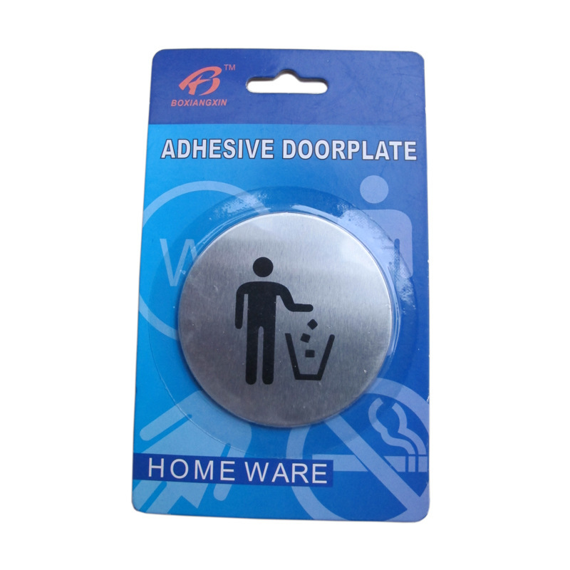 Free shipping Wall Door 430 stainless steel guide signs non-garbage Sign x 10Pcs(China (Mainland))
