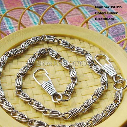 Free Shipping PA015 1pcs Purse Frame Hanger Chain 40cm Silver Metal Clasps Purses Accessories Handles Handbags Diy Bag Parts(China (Mainland))