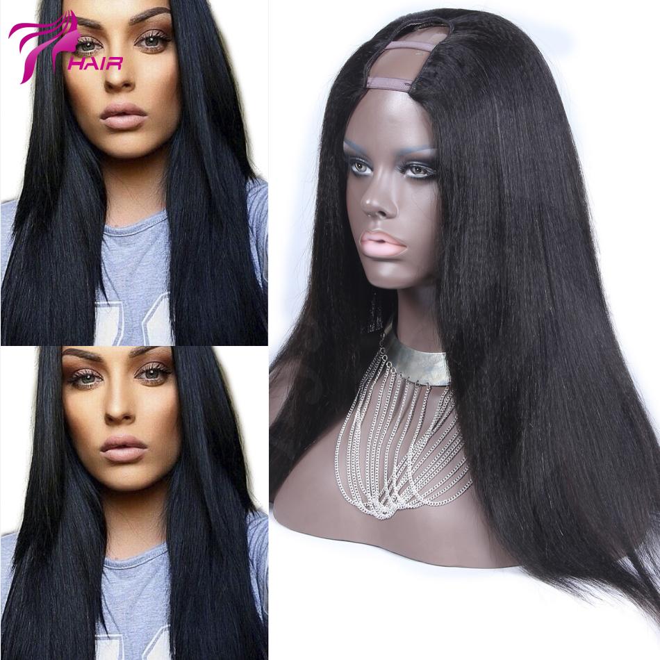 Stock Soft Generous Yaki Straight U Part Wig Human Hair Virgin Brazilian Upart Wigs Straight Style Side Part / Middle u Part(China (Mainland))