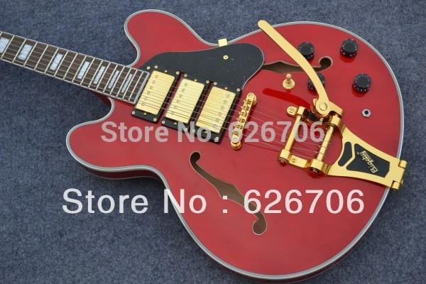Wholesale - 2012 New cherry sunburst F-hole hollow body 3 pickup bigsby Electric guitar(China (Mainland))