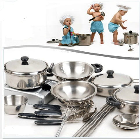 18Set Stainless Steel Cooking Tools for Children Kids Play Education Kitchen Accessories Toys Cookware Pot Pan Brinquedo Cozinha(China (Mainland))