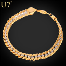 Buy U7 Two Tone Gold Color Bracelet Men Jewelry Wholesale Trendy 6MM 21CM Cuban Chain Bracelets Men/Women H594 for $4.49 in AliExpress store