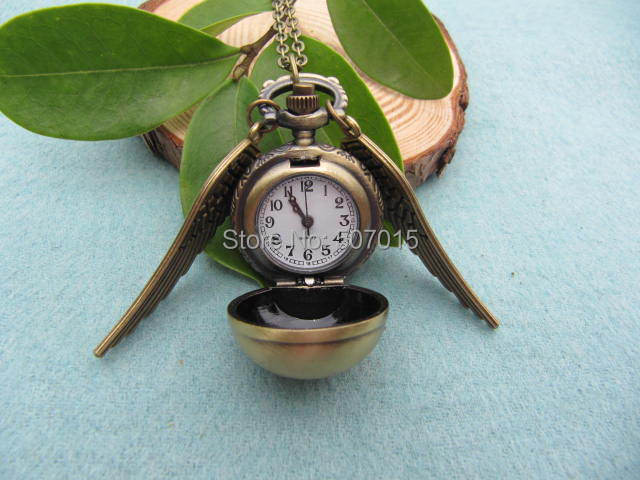 wholesale Harry Potter inspired Enchanted Golden Snitch Pocket WATCH, harry potter-Deathly Hallows necklace(China (Mainland))