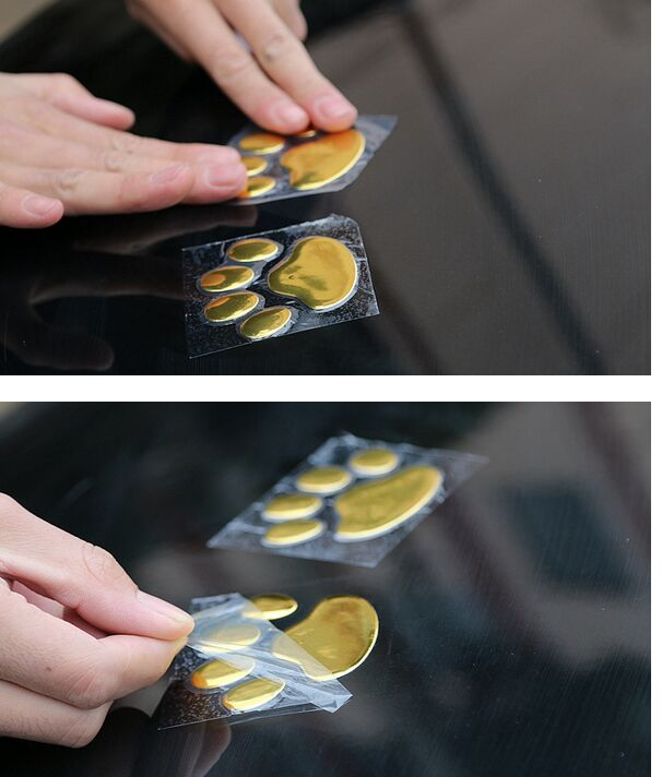 2pcs/ Lot Paw pet Animal Footprint emblem 3D car stickers decor for ford focus cruze rio skoda octavia mazda opel bmw audi(China (Mainland))