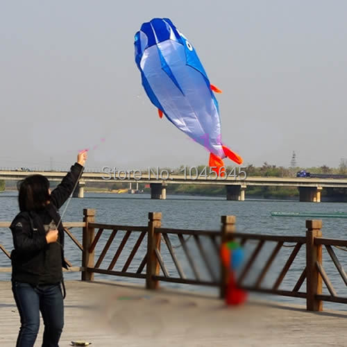 E79 On Sale! 3D Kites Huge Parafoil Giant Dolphin Blue Power Kite Outdoor Sports Easy to Fly Free Shipping(China (Mainland))