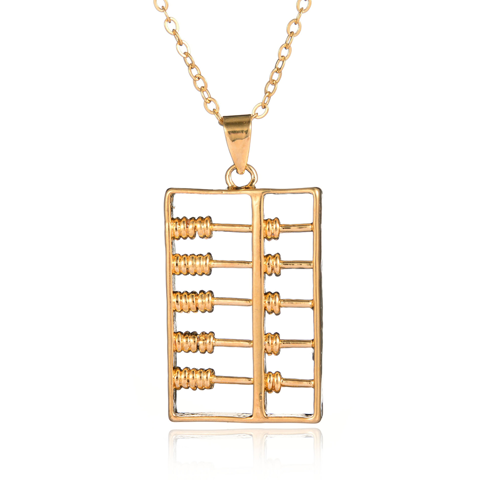 Hot Sale Gold Plated Abacus Pendant Necklace Great Cooper Jewelry For Women Rolo Chain Collar Accessories(China (Mainland))
