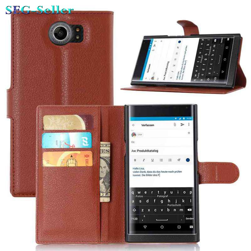 Luxury Wallet Credit Card Book Style Flip Stand Leather Case Back Cover for BlackBerry Priv leather case(China (Mainland))