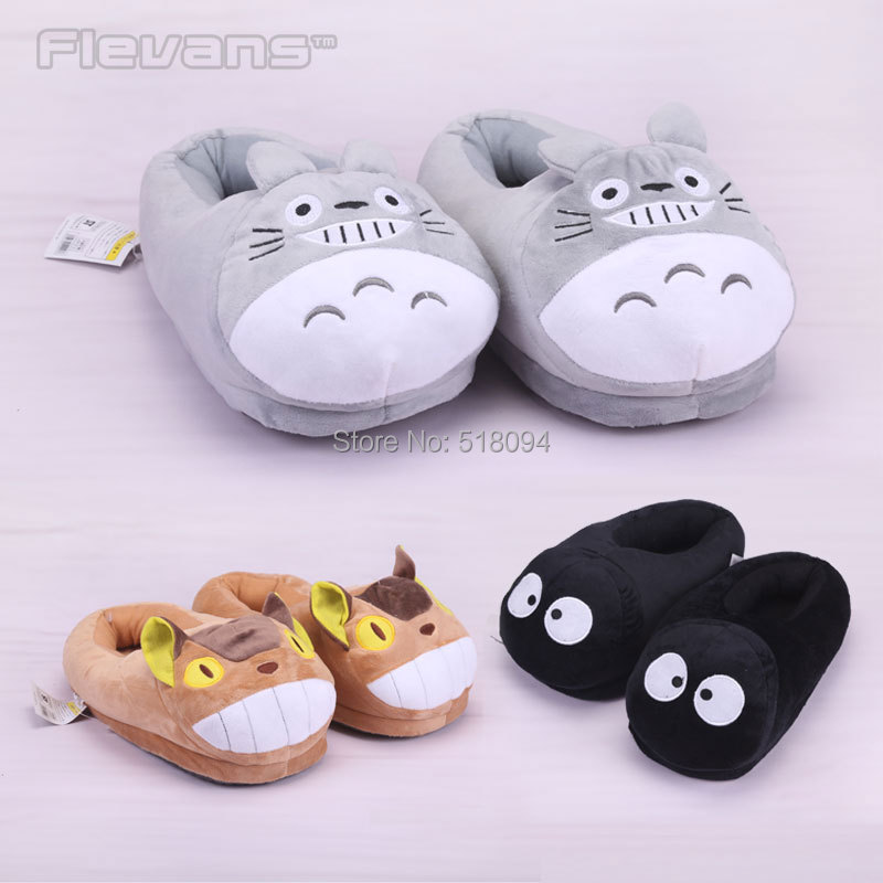 Anime Cartoon Totoro Cat Buss Fairydust Plush Shoes Home House Winter Slippers for Children Women Men Kids Slippers ANSE039(China (Mainland))