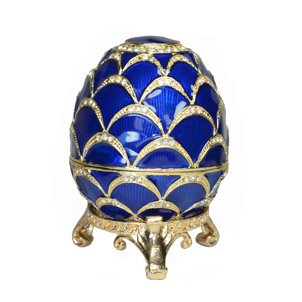Russian Faberge Style Blue Easter Egg Trinket Box Bejeweled Egg Jewelry Box Vintage Decoration