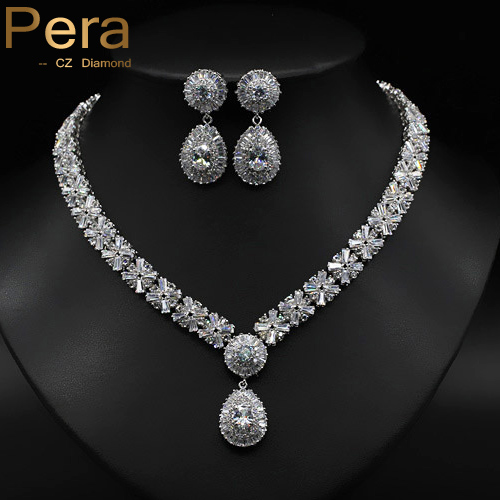 18K Gold And Silver Plated Sparkling CZ Diamond Big Dangling Drop Round Earrings And Necklace Sets For Women Evening Party J061<br><br>Aliexpress