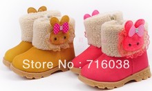 free shipping cheap price top sale new kid girl snow boot  childer shoes size 21-25cm for 2 to 4years old  fashion style  shoes(China (Mainland))