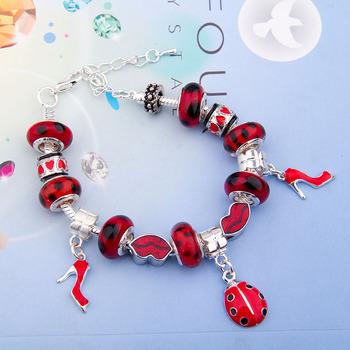 Fast Shipping wholesale pan silver bead Charm Bracelet for women European Style Handmade 925 Silver jewelry PA1198