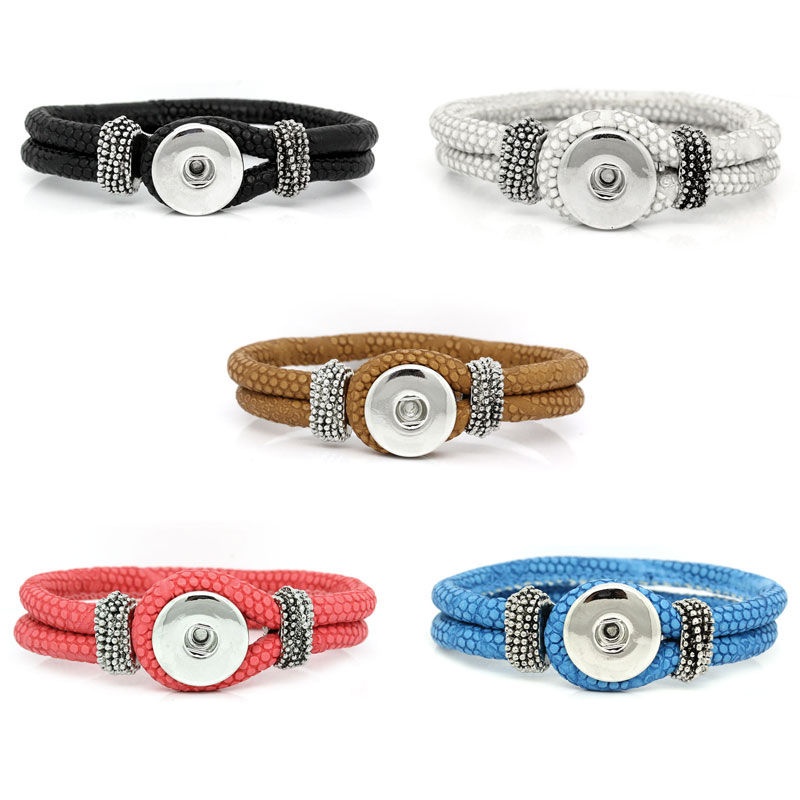 "2015 New 5PC PU Leather Bracelets Fit Snaps Snap Buttons Mixed 21cm(8 2/8"") long Free Shipping(China (Mainland))"