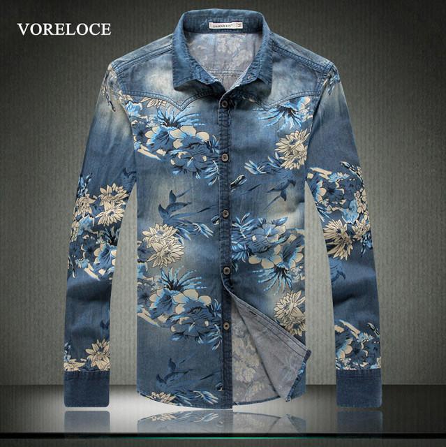 2016 весной и летом новый роскошный высокое качество печати Мужская джинсовая рубашка ...