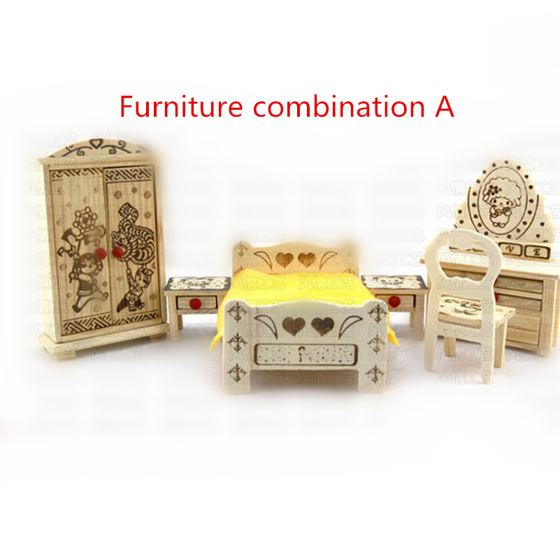 Simulation of wooden crafts furniture sets play house toys 3d Bed Chest Dining-table Dresser Piano Hobbyhorse(China (Mainland))