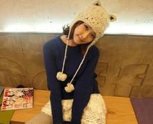 Girls Cute Warm Animal Cat Ears Wool Knit Winter EarFlap Hat Cap Beanie Ski With two pom pom