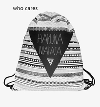 Who Cares Fashion 3D Printing Aztec Hakuna Matata Mochila Feminina Gym Backpak Women Outdoor Casual Sport Drawstring Bag Girl