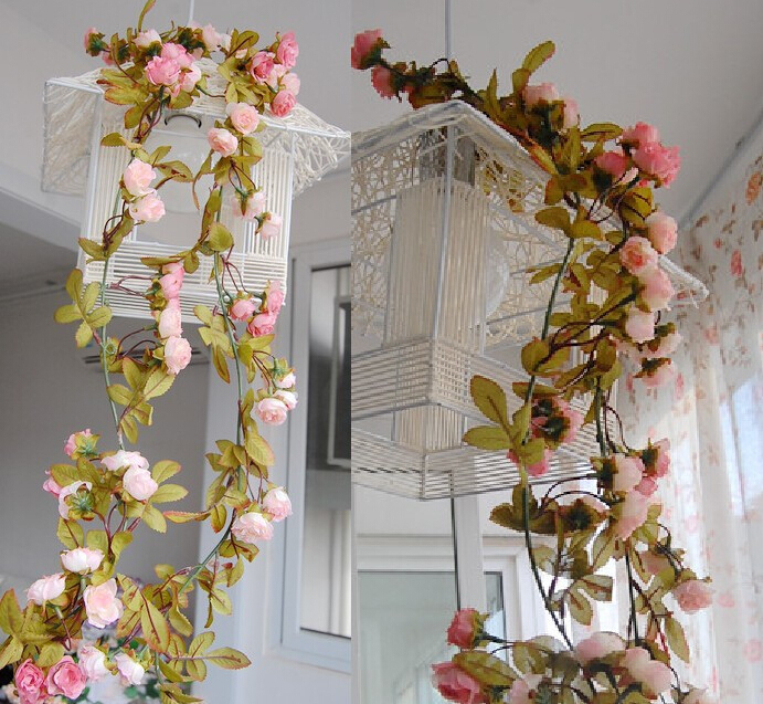 20% OFF Wedding decoration New 2015 Artificial Fake Silk Rose Flower Vine Hanging Garland Wedding Home Decor(China (Mainland))