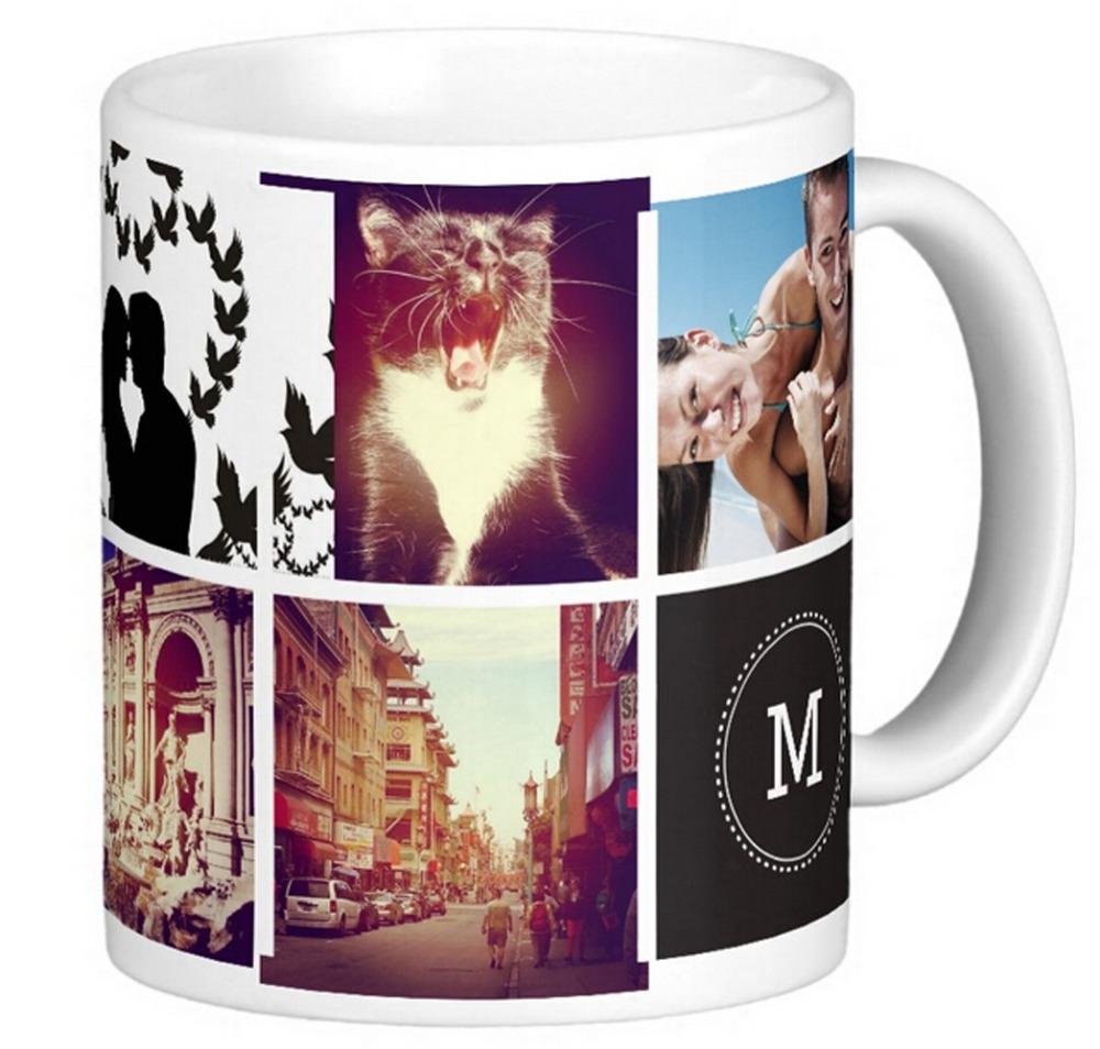 Custom mug with room for 8 square shaped photos and a monogram. DIY White Coffee mugs Tea Mugs Customize Gift By LVSURE(China (Mainland))