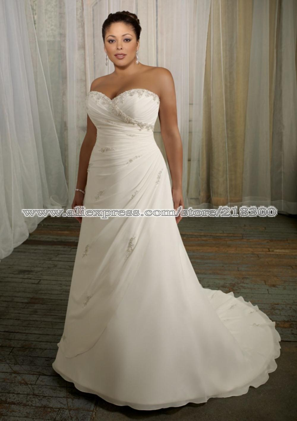 Popular full figured bridal gowns aliexpress for Full size wedding dresses