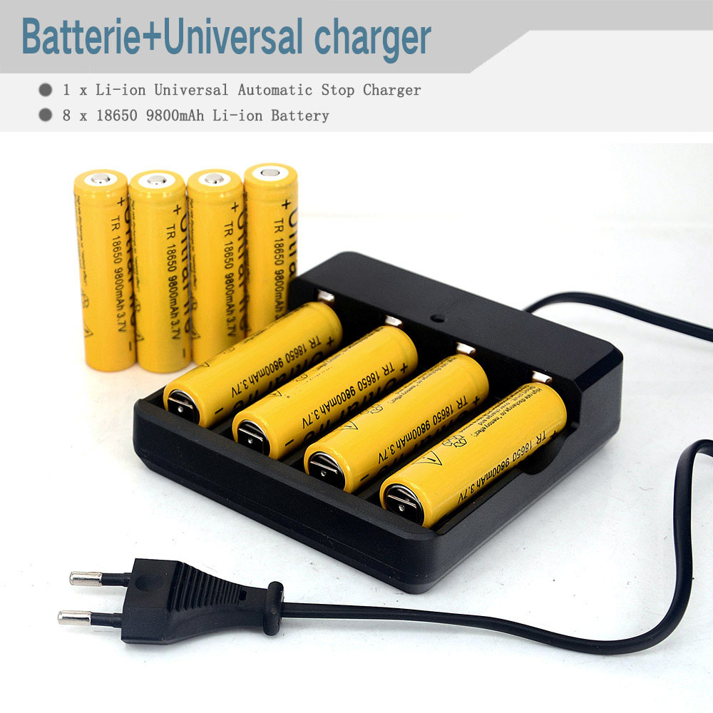 1pcs Hot New Universal Smart Charger 4 Slots Battery Charger 18650 16340 26650 including High Capacity 8pcs 9800mAh battery<br><br>Aliexpress