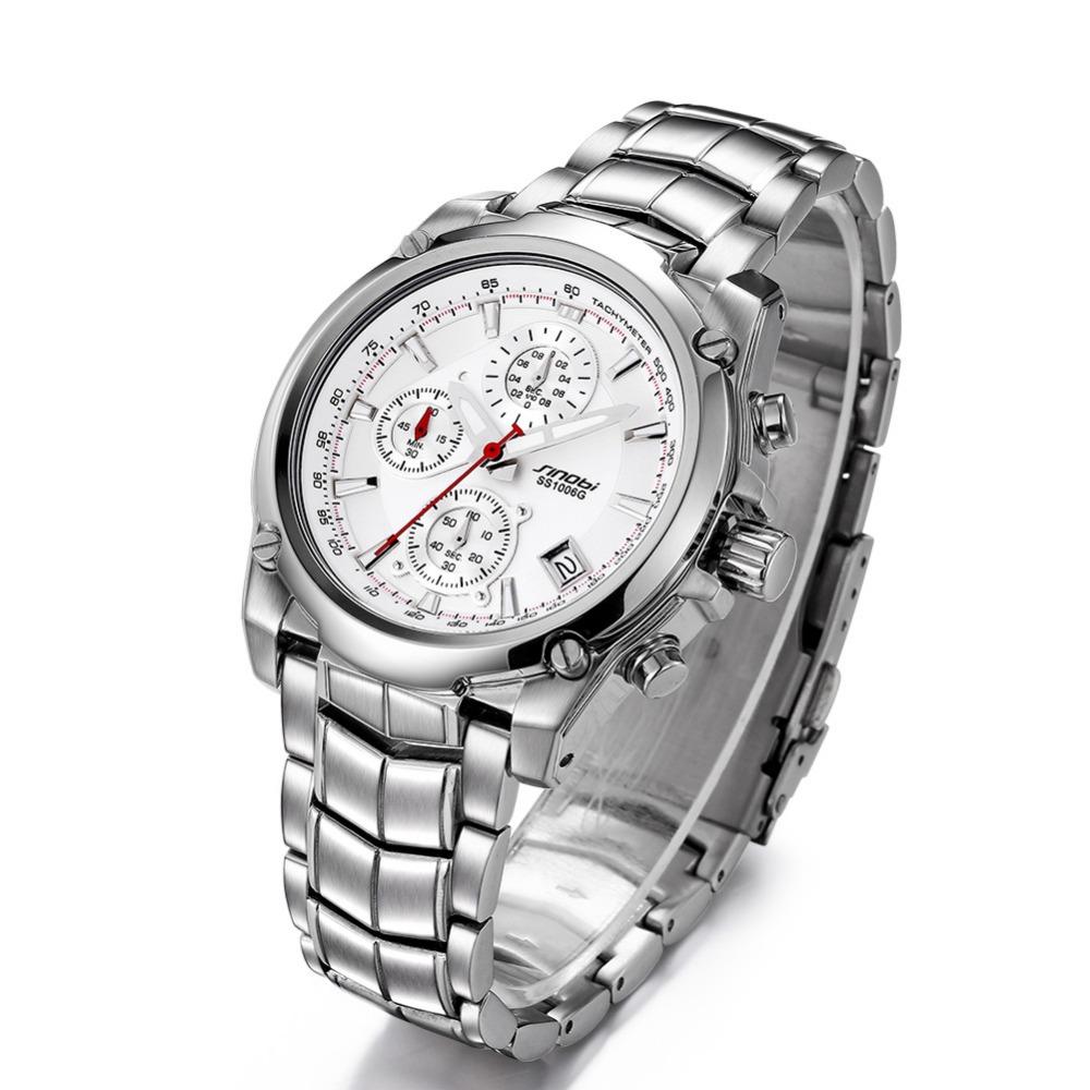 Супер функция мужских наручных часов синоби Верхнее Тавро Дата Нержавеющая сталь часы светящиеся бизнеса 3 Малый Циферблат часы