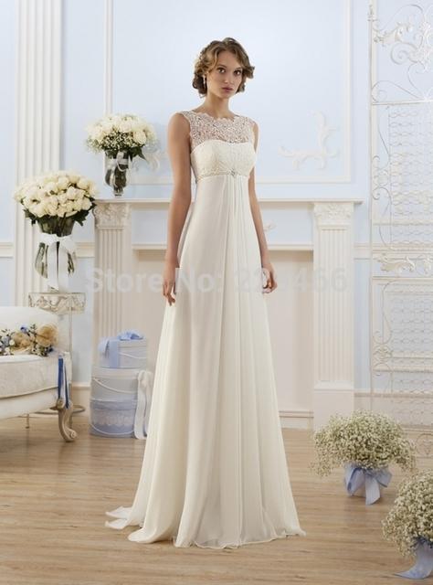 Новое поступление кружева шифоновое свадебное платье пляж платье длиной до пола длинные ...