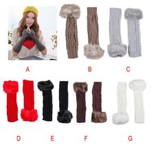 Fantastic  NEW Women Fingerless Gloves Arm Warmer Long Winter Fuax Fur Mittens Knitted Ribbed(China (Mainland))
