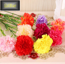 Artificial flower carnation a single plastic artificial silk artificial flower home dining table decoration AD0070(China (Mainland))