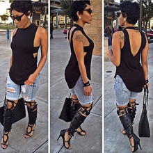 2015 new fashion women summer style t shirt women brand t shirt dresses black sleeveless hollow out women tops and tees XD104(China (Mainland))