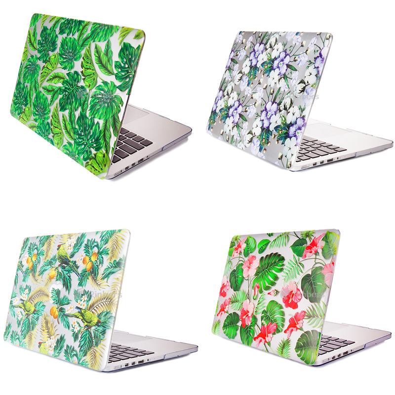 4 Colors Leaf Flower Print Case For Apple Macbook Air Pro