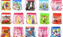 Free shipping wholesale 100pcs mix cartoon Environmental Draw string children School bag backpack(China (Mainland))