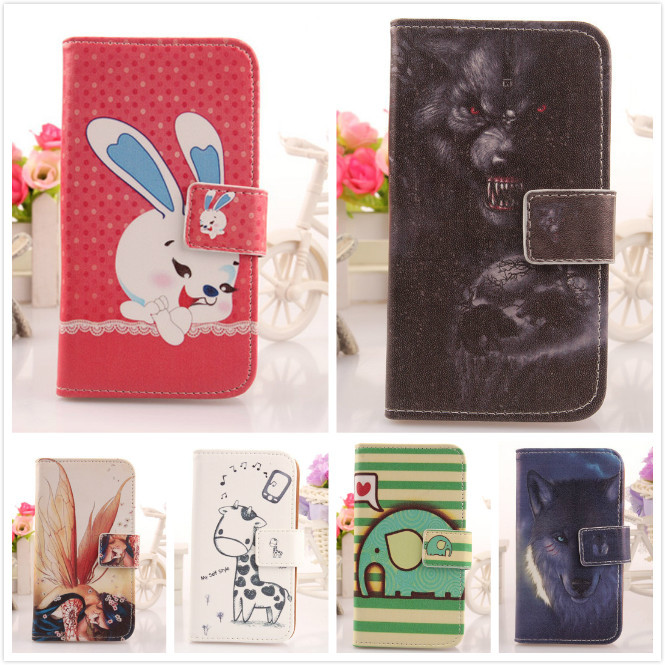 6 Pcs/Lot Cartoon Pattern Cell Phone PU Leather Flip Case For UTime Smart G7 4.5 Quad Core Dual SIM Book Style & Card Slot Shell(China (Mainland))