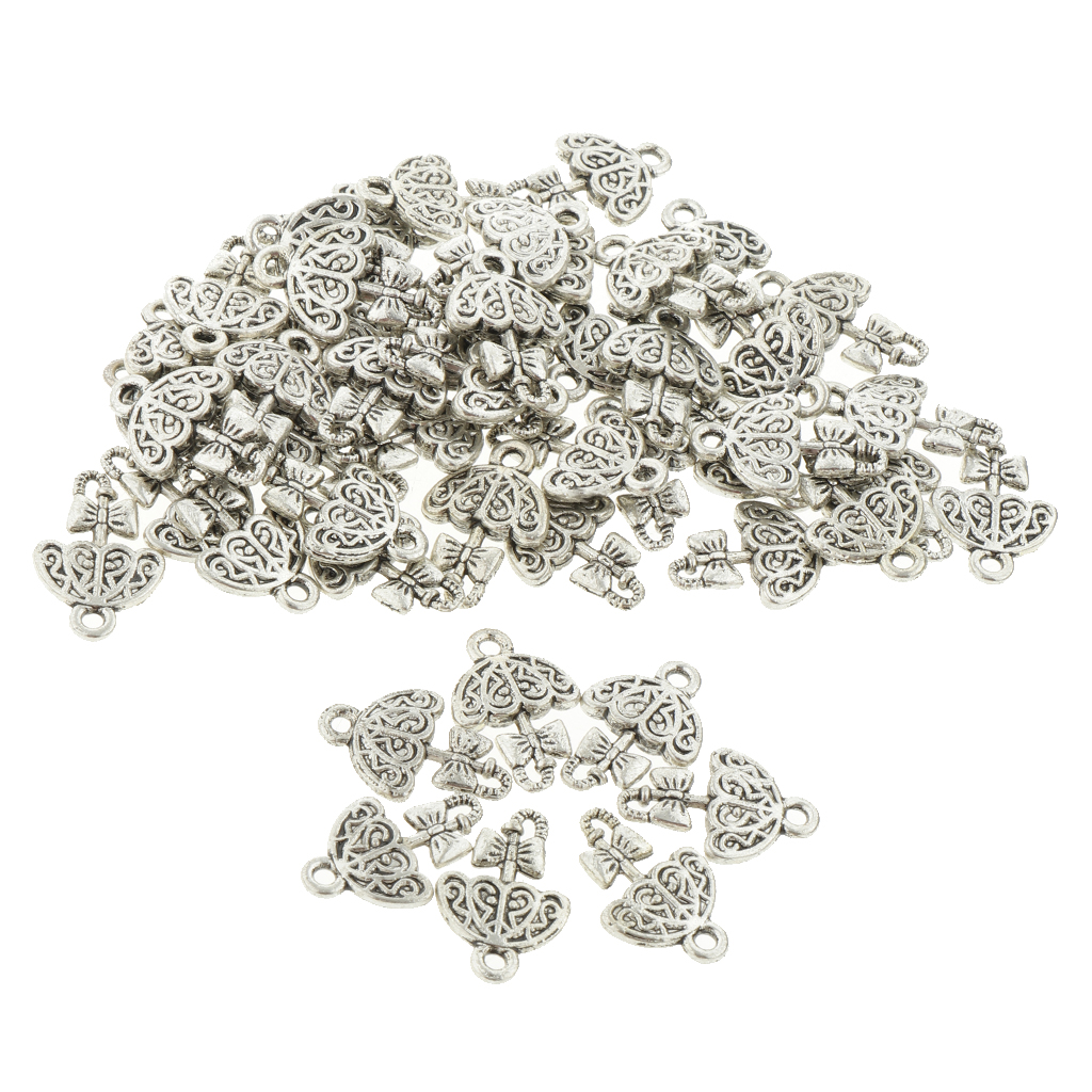 Pack of Loose Bulk Jewelry Findings Charm Pendants Vintage Alloy Findings For Jewelry Making Supplies Necklace Bracelet Silver